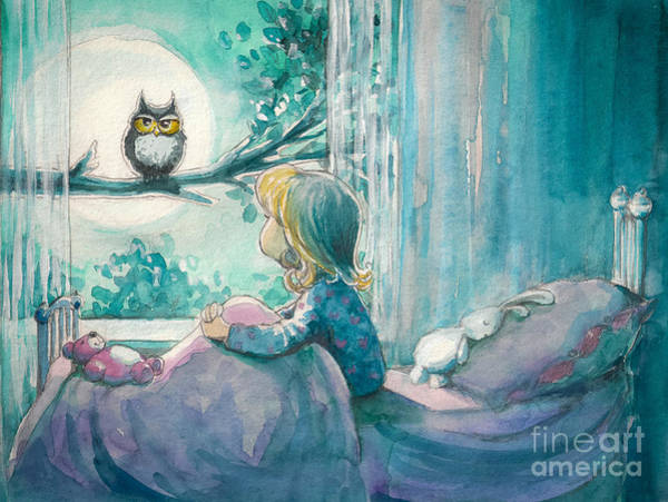 Wall Art - Digital Art - Girl In Her Bed Looking At Owl On A by Deepgreen