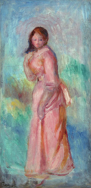 Wall Art - Painting - Girl In Pink by Pierre-Auguste Renoir