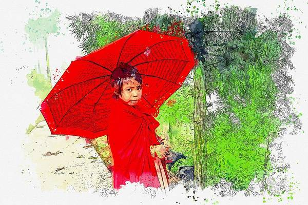 Painting - Girl In Red -  Watercolor By Adam Asar by Adam Asar