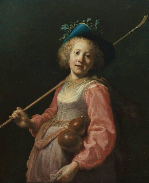 Painting - Girl In Shepherdess Costume by Dirck van Santvoort