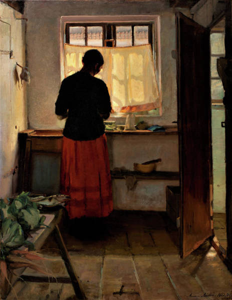 Wall Art - Painting - Girl In The Kitchen - Digital Remastered Edition by Anna Ancher