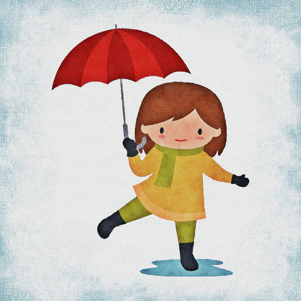 Daughter Digital Art - Girl In The Rain by Flo Karp