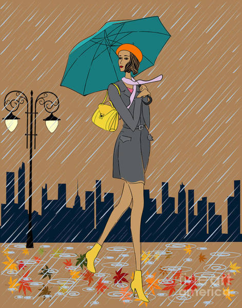 Puddle Wall Art - Digital Art - Girl In The Rain by Fresher