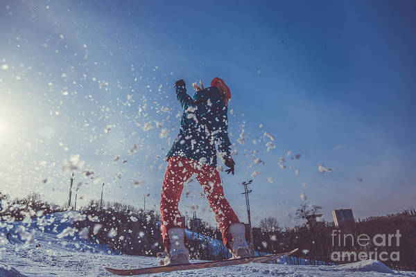 Ski Jumping Photograph - Girl Learning To Ride A Snowboard by Liukov