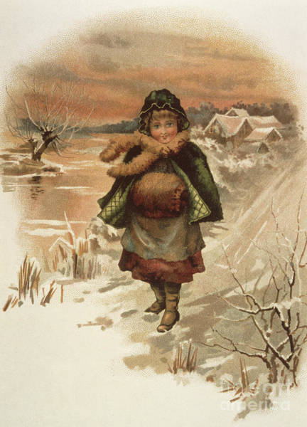 Wall Art - Painting - Girl On A Snowy Road by Edith S Berkeley