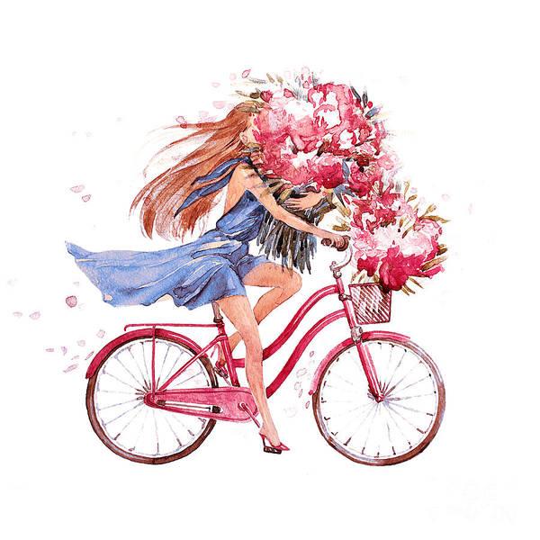 Pink Flower Wall Art - Digital Art - Girl On Bike.  Bicycle. Bike. Peony by Julandersen