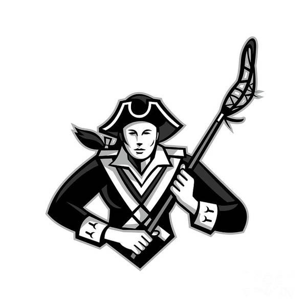 Lax Digital Art - Girl Patriot Lacrosse Player Mascot by Aloysius Patrimonio