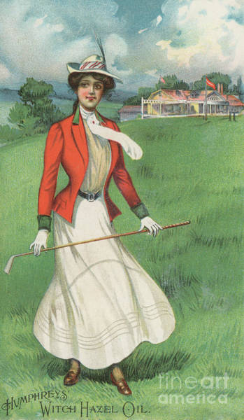 Wall Art - Painting - Girl Playing Golf, 19th Century by American School