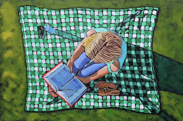 Painting - Girl Reading On Blanket by Kevin Hughes