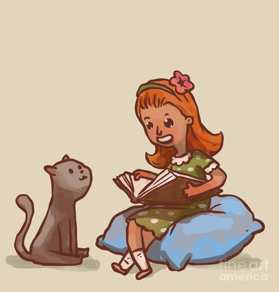 Wall Art - Digital Art - Girl Reads Book To Cat, Vector by Ivan nikulin