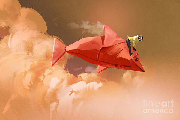 Wall Art - Digital Art - Girl Riding On The Origami Paper Red by Tithi Luadthong