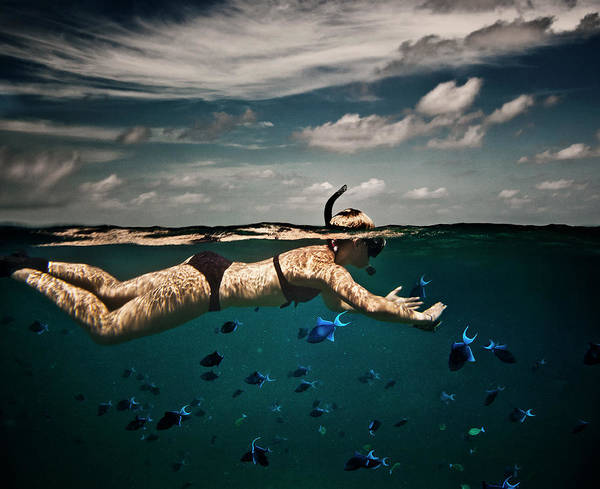 Caucasian Wall Art - Photograph - Girl Snorkelling In Indian Ocean by Rjw