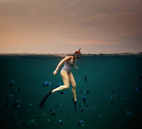 Water Photograph - Girl Snorkelling by Rjw