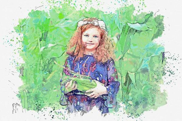 Painting - Girl Standing In A Cornfield Carrying Corn Watercolor By Ahmet Asar by Ahmet Asar
