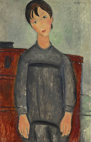 Wall Art - Painting - Girl Standing In Black Pinafore by Amedeo Modigliani