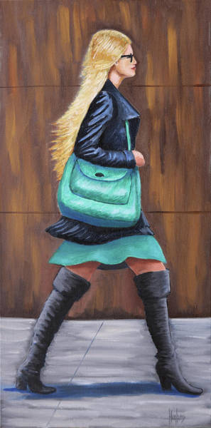 Painting - Girl Walking by Kevin Hughes