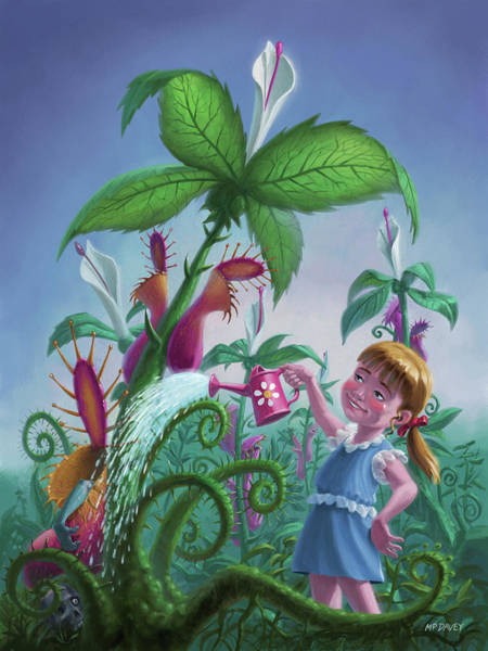 Digital Art - Girl Watering Horror Plants by Martin Davey