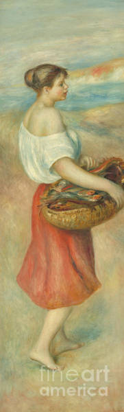 Wall Art - Painting - Girl With A Basket Of Fish, Circa 1889 by Pierre Auguste Renoir
