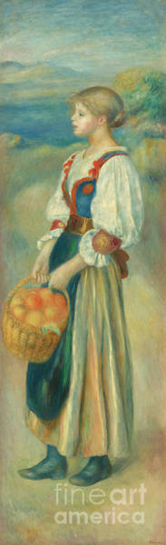 Wall Art - Painting - Girl With A Basket Of Oranges, Circa 1889  by Pierre Auguste Renoir