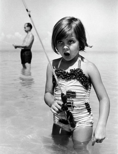 Sport Fishing Photograph - Girl With A Fishing Rod by Alfred Eisenstaedt
