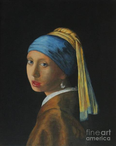 Painting - Girl With A Pearl Earring by Bob Williams