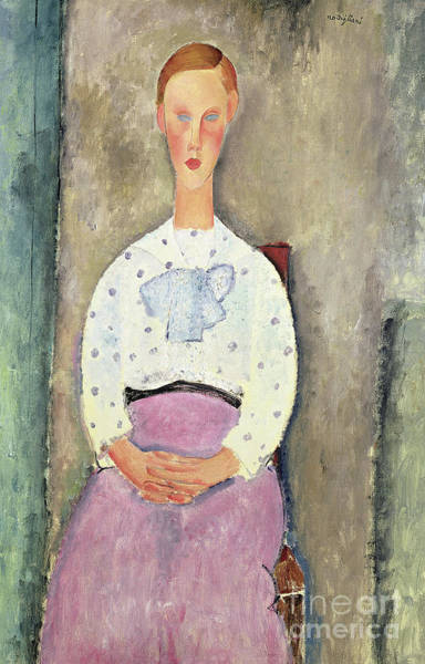 Sunday Painting - Girl With A Polka Dot Blouse, 1919 by Amedeo Modigliani