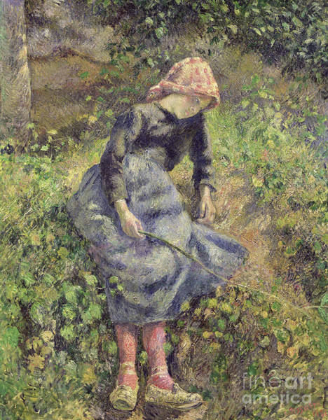 Wall Art - Painting - Girl With A Stick, 1881 by Camille Pissarro