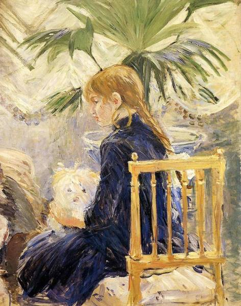 Wall Art - Painting - Girl With Dog - 1886 - Pc by Berthe Morisot
