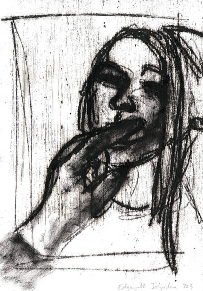 Drawing - Girl With Fingers In Her Mouth by Artist Dot