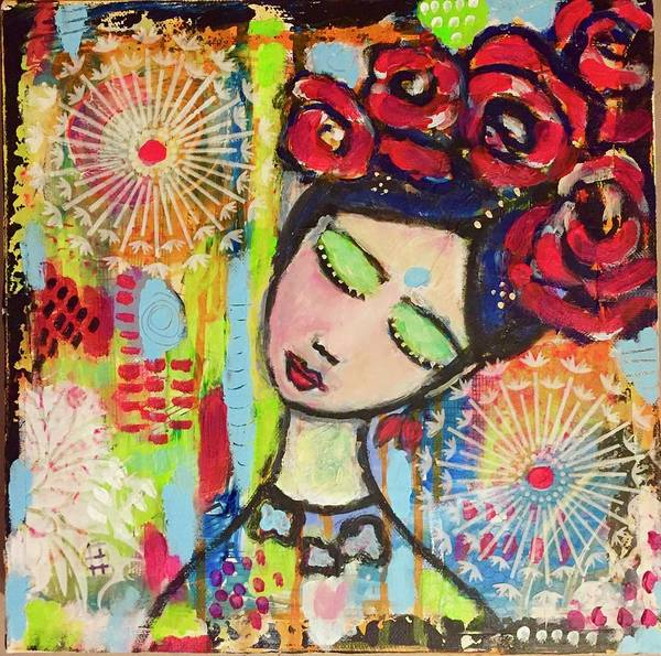 Mixed Media - Girl With Red Roses  by Corina Stupu Thomas