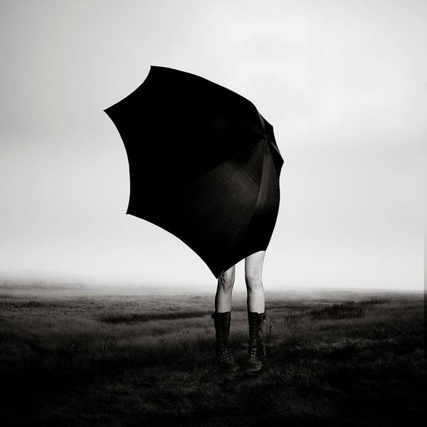 Protection Photograph - Girl With Umbrella by Eddie O'bryan