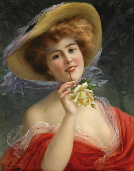 Wall Art - Painting - Girl With Yellow Rose by Emile Vernon