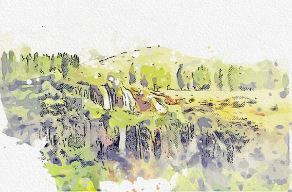 Painting - Girlevik Waterfall In Erzincan Turkey By Omaracr Cc40 Watercolor By Ahmet Asar by Ahmet Asar