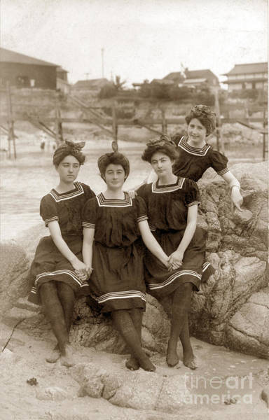Photograph - Girls At The Beach Pacific Grove Circa 1908 by California Views Archives Mr Pat Hathaway Archives