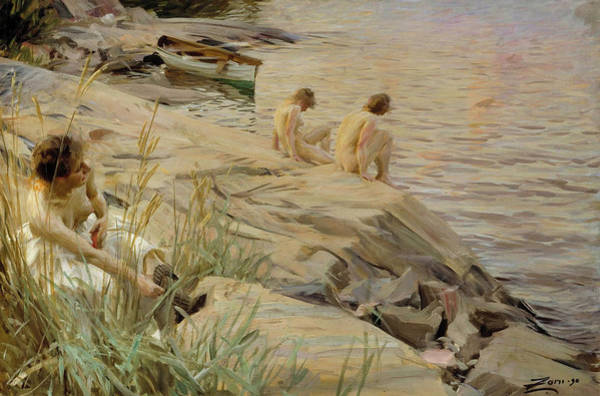 Wall Art - Painting - Girls Bathing In Open Air by Anders Zorn
