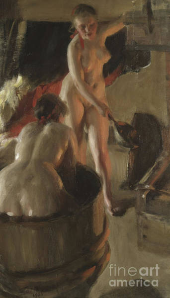 Wall Art - Painting - Girls From Dalarna Having A Bath, 1908 by Anders Leonard Zorn