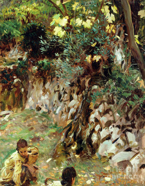 Wall Art - Painting - Girls Gathering Blossoms, Valdemosa, Majorca by John Singer Sargent