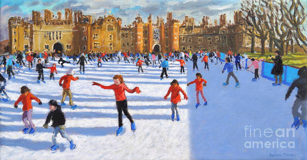Painting - Girls In Red, Hampton Court Palace Ice Rink, London by Andrew Macara