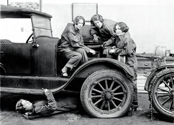 Wall Art - Photograph - Girls Learn Auto Mechanics 1927 by Daniel Hagerman