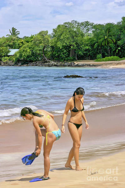 Andrew Jackson Wall Art - Painting - Girls On The Beach In Maui Hawaii by Andrew Jackson