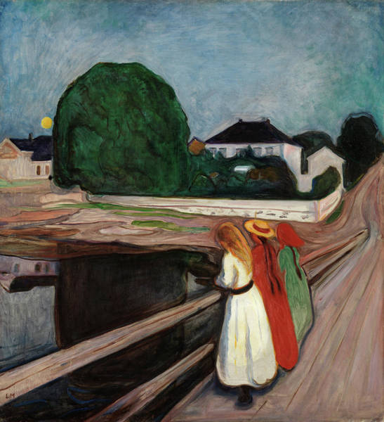Wall Art - Painting - Girls On The Bridge by Edvard Munch