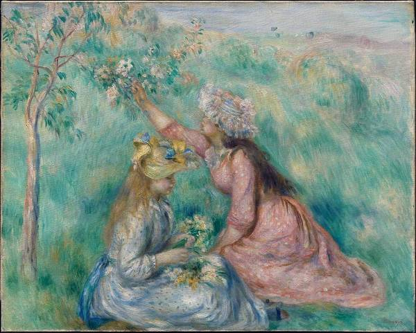 Wall Art - Painting - Girls Picking Flowers In A Meadow 1890 by Pierre Auguste Renoir