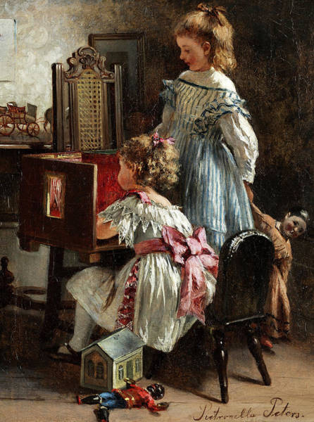Wall Art - Painting - Girls Playing by Pietronella Peters