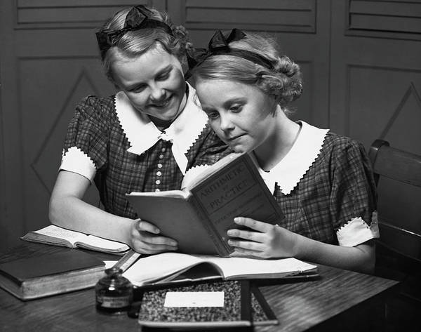 Learning Photograph - Girls Studying Tegether by George Marks