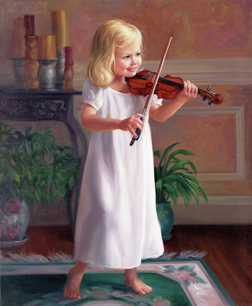 Wall Art - Painting - Girls Violin by Laurie Snow Hein