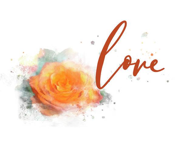 Girly Wall Art, Burnt Orange Rose Love Watercolor Art Print