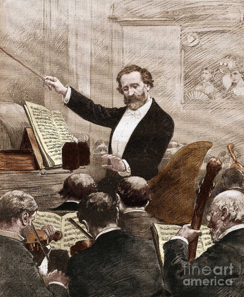 Wall Art - Drawing - Giuseppe Verdi Leading The Opera Orchestra To The First Representation Of Aida In Paris In 1880 by Italian School