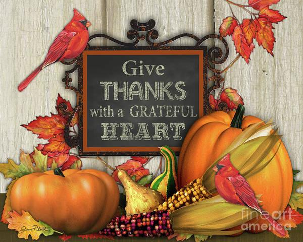 Pumpkin Digital Art - Give Thanks Fall Art-a by Jean Plout