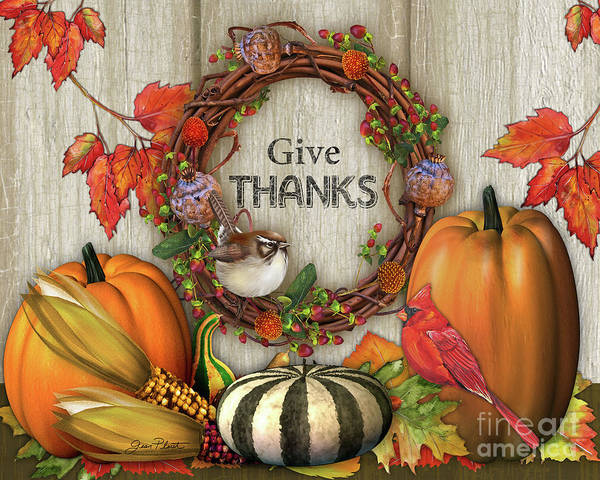 Thanksgiving Digital Art - Give Thanks Fall Art-b by Jean Plout