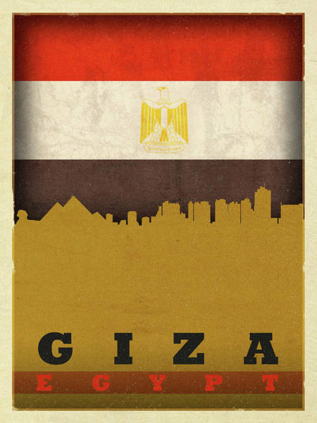 Wall Art - Mixed Media - Giza Egypt World City Flag Skyline by Design Turnpike